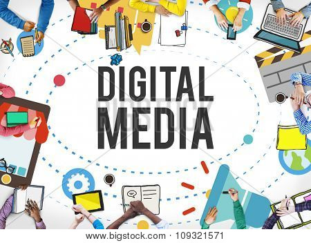 Digital Media Multimedia Networking Internet Concept