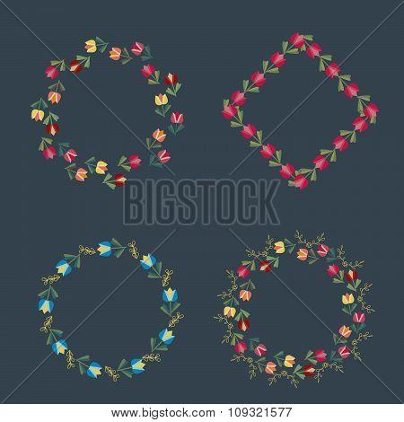 Set of vintage floral elements.