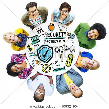 Ethnicity People Looking up Security Protection Information Concept
