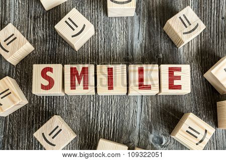 Wooden Blocks with the text: Smile