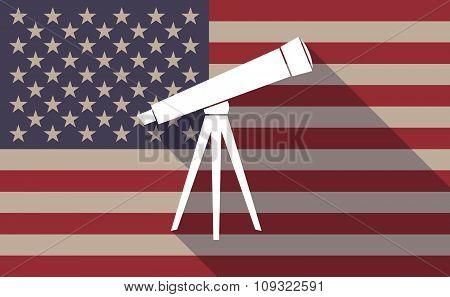 Long Shadow Vector Usa Flag Icon With A Telescope
