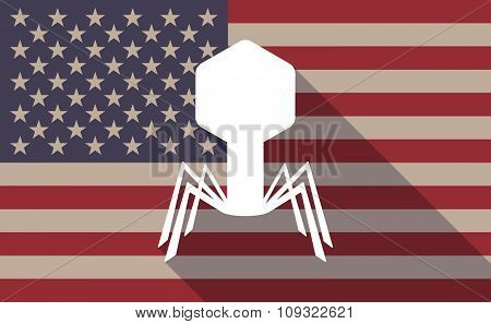 Long Shadow Vector Usa Flag Icon With A Virus