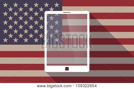 Long Shadow Vector Usa Flag Icon With A Tablet Computer