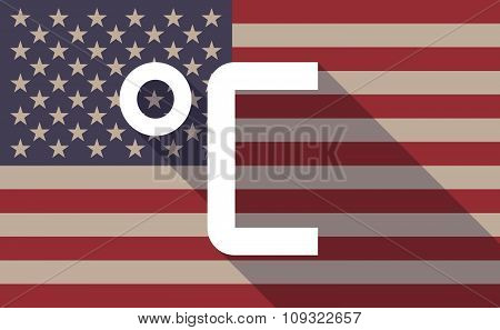 Long Shadow Vector Usa Flag Icon With  A Celsius Degree Sign