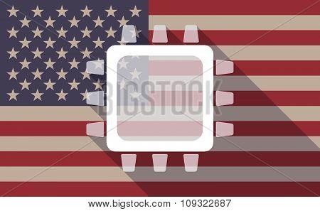 Long Shadow Vector Usa Flag Icon With A Cpu