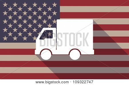 Long Shadow Vector Usa Flag Icon With A  Delivery Truck