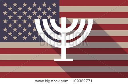 Long Shadow Vector Usa Flag Icon With A Chandelier