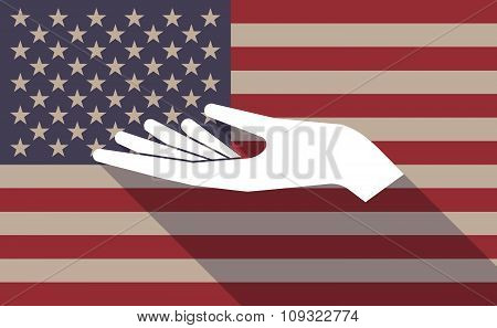 Long Shadow Vector Usa Flag Icon With A Hand Offering