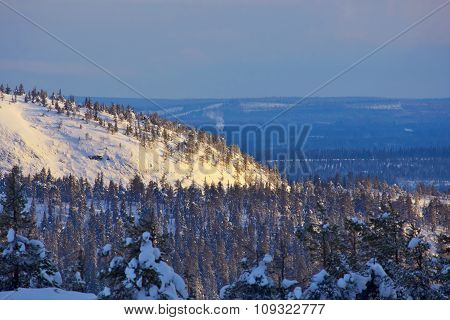 Winter Landscape In Northern Finland.