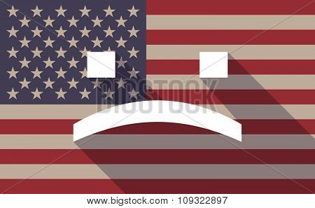Long Shadow Vector Usa Flag Icon With A Sad Text Face