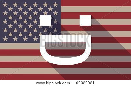 Long Shadow Vector Usa Flag Icon With A Laughing Text Face
