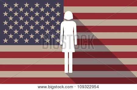 Long Shadow Vector Usa Flag Icon With A Female Pictogram