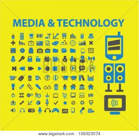 media, technology icons set, vector