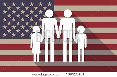 Long Shadow Vector Usa Flag Icon With A Gay Parents  Family Pictogram