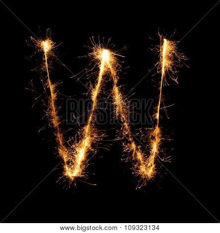 Sparkler Firework Light Alphabet W At Night