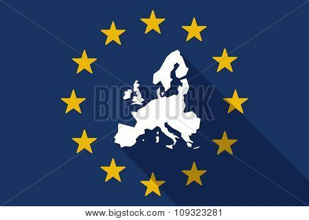European Union  Long Shadow Flag With  A Map Of Europe