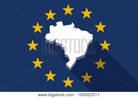 European Union  Long Shadow Flag With  A Map Of Brazil