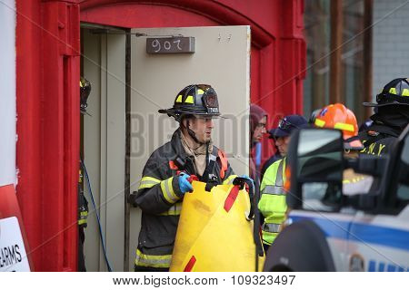 Firefighter with rescue gear