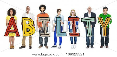Diverse People Holding Text Ability