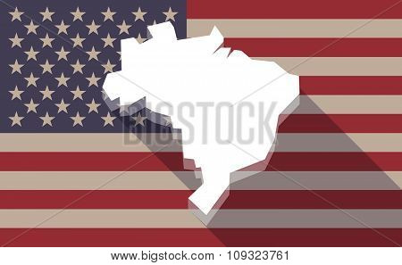 Long Shadow Vector Usa Flag Icon With  A Map Of Brazil
