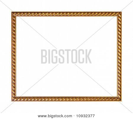 Golden Ornately Picture Frame, Isolated On White