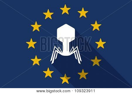 European Union  Long Shadow Flag With A Virus