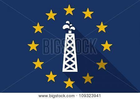 European Union  Long Shadow Flag With An Oil Tower