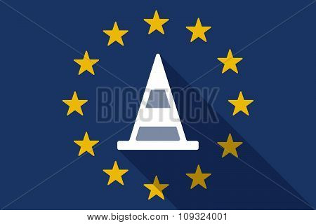 European Union  Long Shadow Flag With A Road Cone