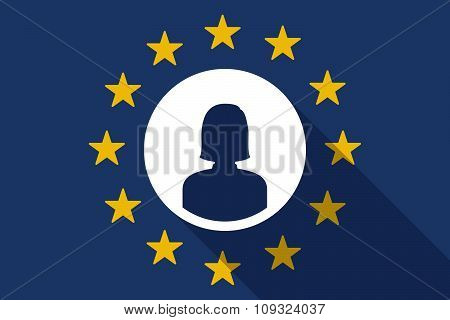 European Union  Long Shadow Flag With A Female Avatar