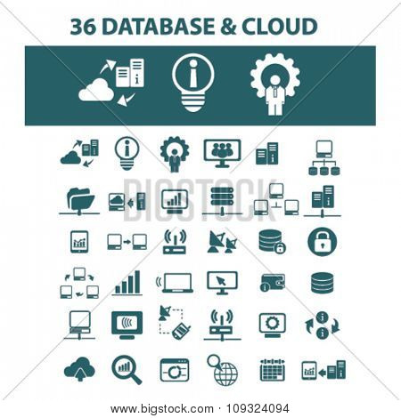 big data, database, hosting, analytics  icons, signs vector concept set for infographics, mobile, website, application