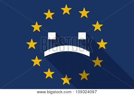 European Union  Long Shadow Flag With A Sad Text Face