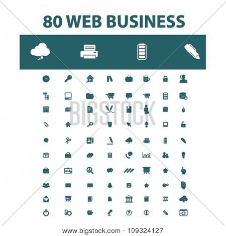 web business, home office, supplies, icons, signs vector concept set for infographics, mobile, website, application