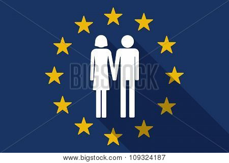 European Union  Long Shadow Flag With A Heterosexual Couple Pictogram
