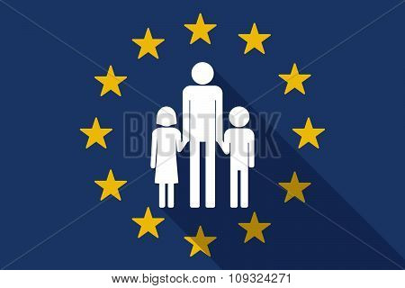 European Union  Long Shadow Flag With A Male Single Parent Family Pictogram
