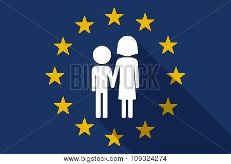 European Union  Long Shadow Flag With A Childhood Pictogram