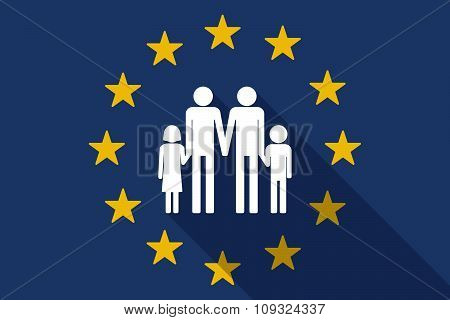 European Union  Long Shadow Flag With A Gay Parents  Family Pictogram