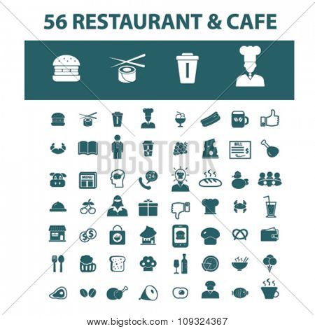 Restaurant  icons, signs vector concept set for infographics, mobile, website, application