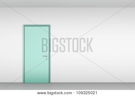 Green Door On White Wall