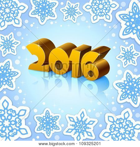 Golden New Year 2016 On Blue Background