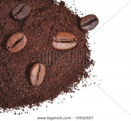 Grains Of Coffee On The Ground Coffee
