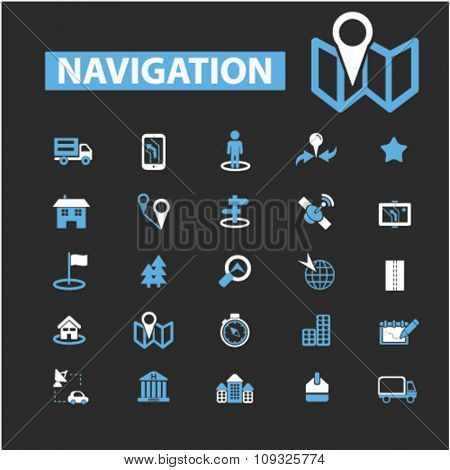 navigation, route, map, navigator  icons, signs vector concept set for infographics, mobile, website, application