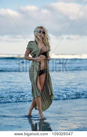 Beautiful Woman On The Sea Shore