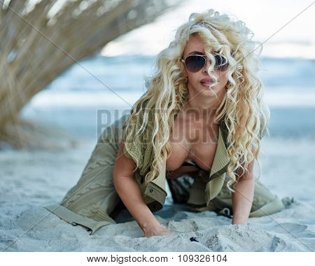 Gorgeous Sexy Blond On The Beach