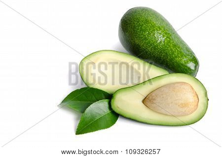 Two Fresh Avocado Isolated On White Background.