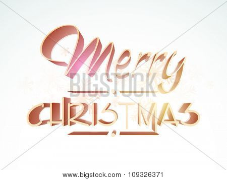 Elegant greeting card design with stylish text Merry Christmas on snowflakes decorated background.