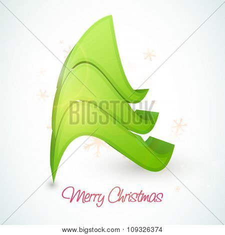 Creative 3D Xmas Tree on snowflakes decorated glossy background for Merry Christmas celebration.
