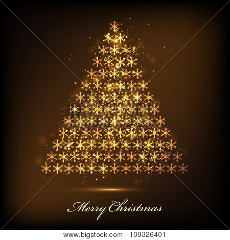 Greeting card design with elegant Xmas Tree made by golden shiny snowflakes on glossy brown background for Merry Christmas celebration.