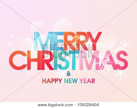 Glossy greeting card design for Merry Christmas and Happy New Year celebration.