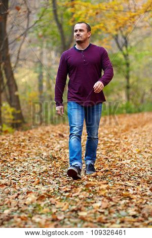 Caucasian Man Walking In The Forest