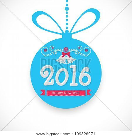 Creative hanging Xmas Ball with Jingle Bell for Happy New Year 2016 celebration.